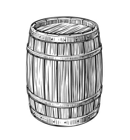 Wooden barrel sketch vintage. Cask for wine and other alcoholic beverage 向量圖像
