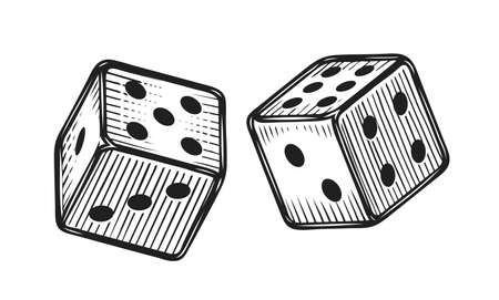Two white dice. Gambling, game sketch vintage vector illustration