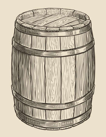 One wooden barrel for wine and other alcohol. Sketch vintage vector illustration 向量圖像