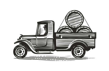 Retro farm truck with barrels of wine or other alcohol. Agriculture sketch vintage vector illustration