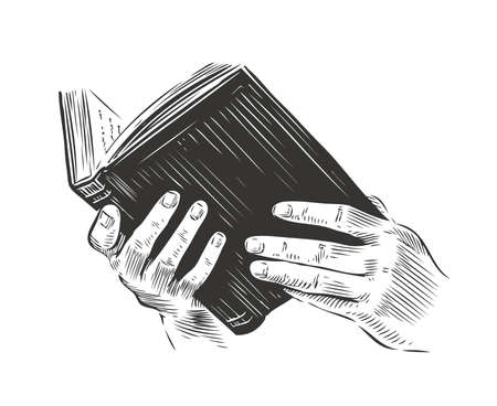 Open book in hand, sketch vintage vector illustration 向量圖像