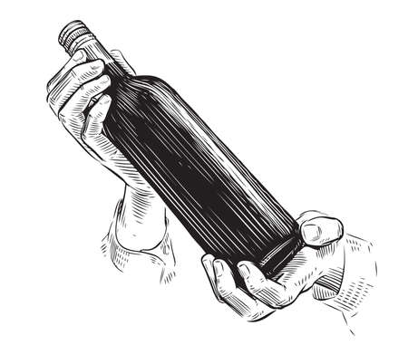 Bottle of wine in hand. Alcoholic drink sketch vintage vector illustration