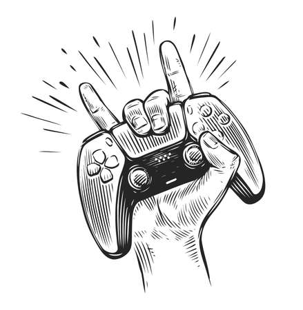 Game controller in hand. Video gamepad sketch vector illustration