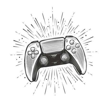 Game controller. Video gamepad sketch vector