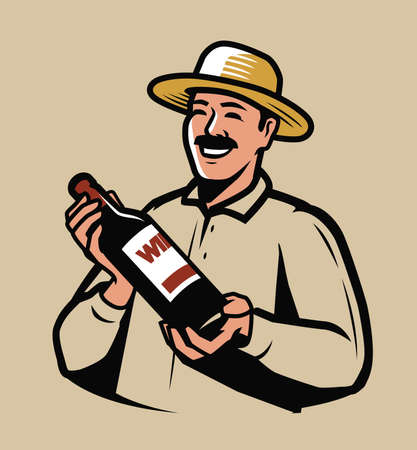 Wine production. Farmer with bottle in hands vector illustration