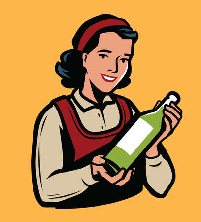Young girl with a bottle of olive oil or other drink. Retro vector illustration Ilustração