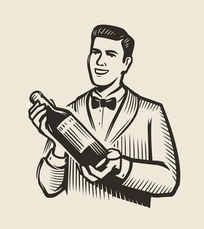 Waiter or sommelier with a bottle of wine. Restaurant vector illustration