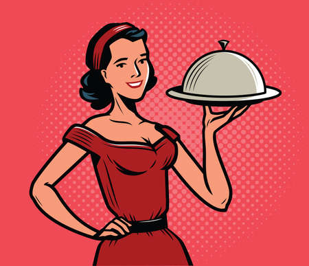 Beautiful girl waitress with a tray. Food concept in retro pop art style