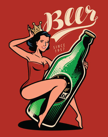 Beautiful girl with a bottle of beer drawn in pin-up style. Retro poster vector
