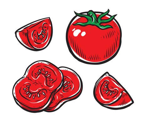 Red tomato. Vegetables, food vector illustration