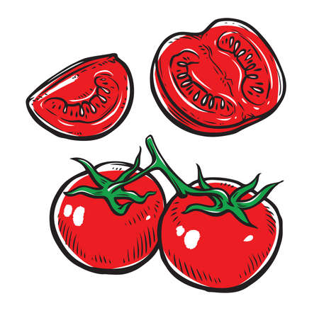 Red tomatoes set. Vegetables, food vector