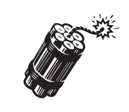 Dynamite with burning wick. Bomb, explosive symbol vector