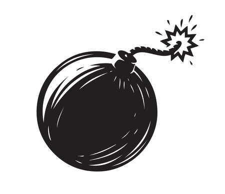 Black bomb isolated on white background. Weapon symbol vector