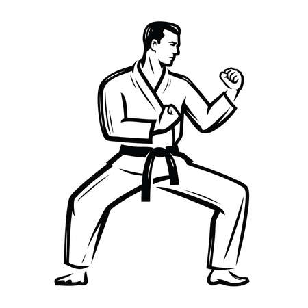 Karate symbol. Man in kimono stands in fighting stance ready to fight