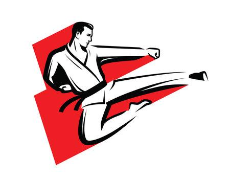 Karate  . Martial and fighting kick symbol