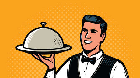 Waiter with tray in retro pop art style. Restaurant, food service concept 向量圖像