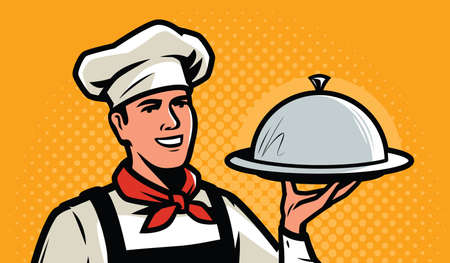Cook, chef with tray in retro pop art style. Restaurant, food service concept