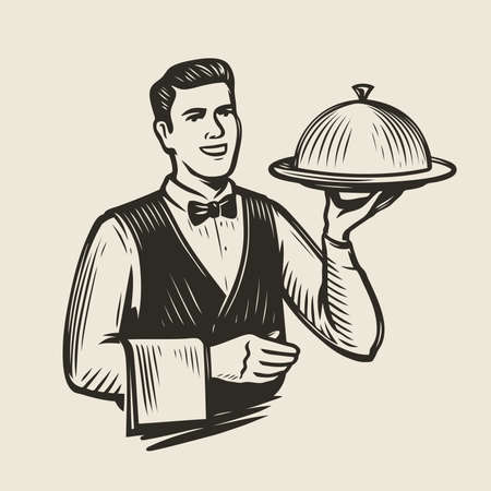 Waiter with a tray sketch. Restaurant, food service vector