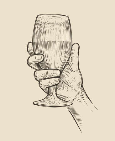 Hand with a glass of beer. Alcoholic drink sketch vector illustration 向量圖像