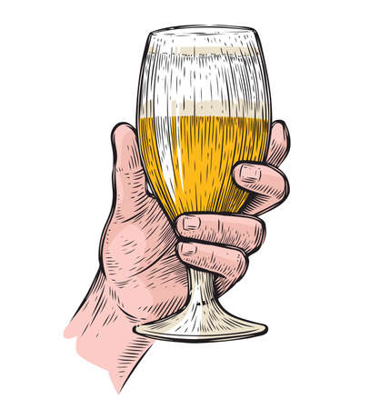 Hand hold a glass of beer. Alcoholic beverage vector illustration 向量圖像