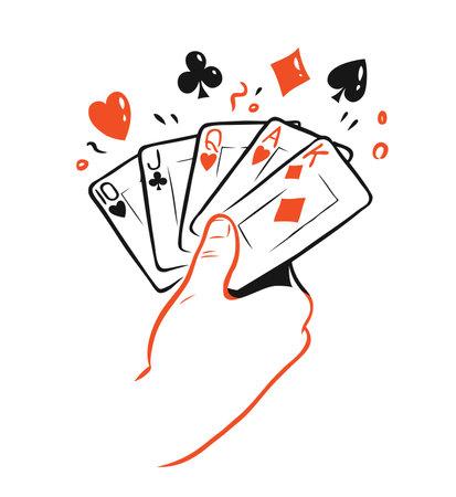 Poker cards in hand. Casino symbol vector 向量圖像