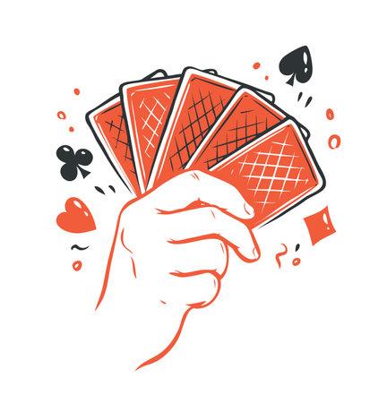 Poker cards in hand. Straight flush, casino symbol vector 向量圖像