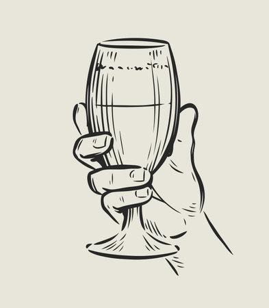 Glass in hand. Drink sketch vintage vector