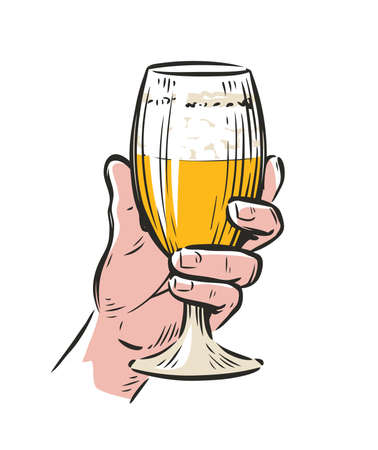 Male hand holding a beer glass. Drink vector illustration 向量圖像