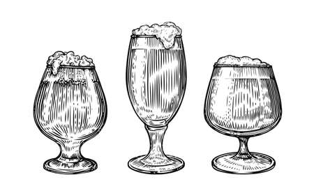 Beer glass and mug in hand drawn style. Pub concept isolated on white