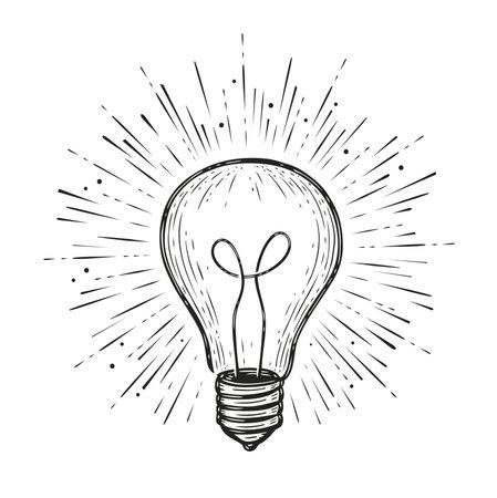 Light bulb shining. Hand drawn concept idea symbol