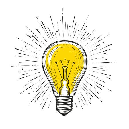 Light bulb glowing. Sketch draw vector illustration. Electric lamp symbol 向量圖像