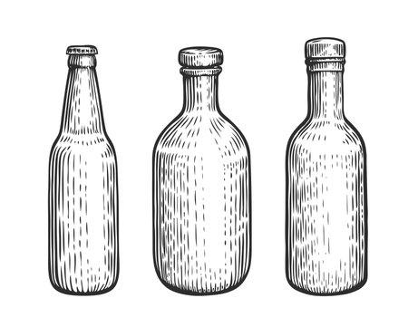 Glass bottles set. Alcoholic beverages sketch vintage vector illustration