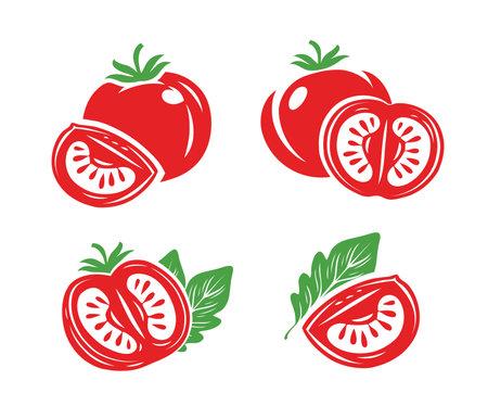 Fresh red tomatoes set symbols. Half, slice of tomato