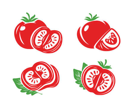 Tomato icon set. Isolated vegetables. Vector illustration
