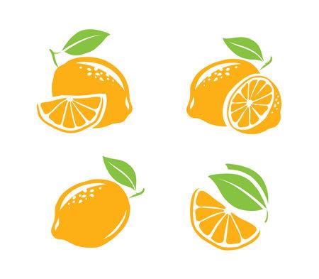 Lemon symbol set. Fresh fruits vector illustration