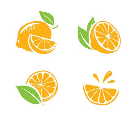 Lemon isolated on white background. Fruit icons set vector illustration 向量圖像