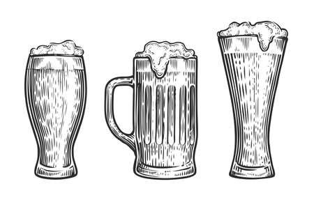 Vector set of beer glasses and mugs. Sketch vintage vector isolated on white 向量圖像