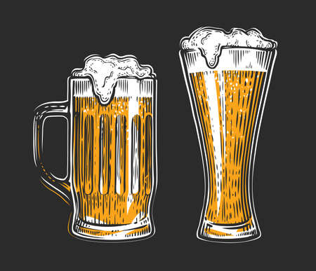 Beer glass. Alcoholic drink with foam vector 向量圖像