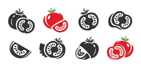 Tomato icons set. Fresh vegetables, food symbol vector