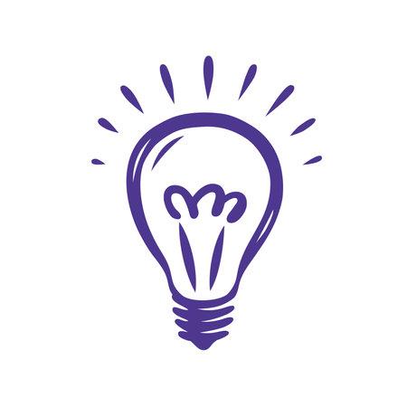 Doodle hand drawn shining light bulb isolated on white background