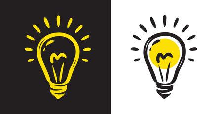 Bulb light idea. Doodle hand drawn symbol