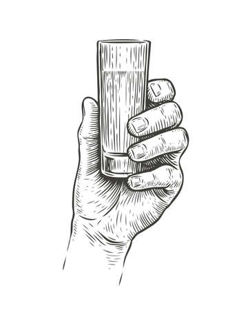 Hand holding a shot of alcohol drink. Vintage sketch vector illustration