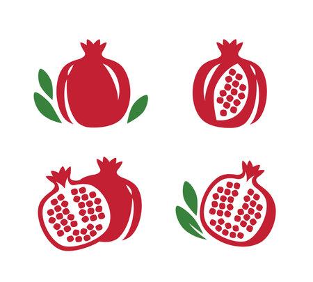 Whole and cut pomegranate icon set. Fruit vector illustration 向量圖像