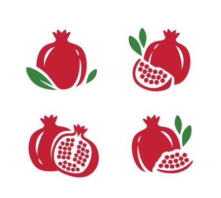 Pomegranate, seeds garnet icons set. Fruit symbol vector 向量圖像