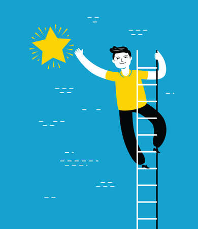Businessman climbing ladder to reach star of success in sky. Business concept vector illustration 向量圖像