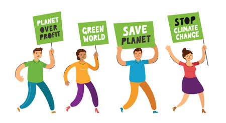 People holding banners and posters for environmental protection. Ecology concept vector illustration