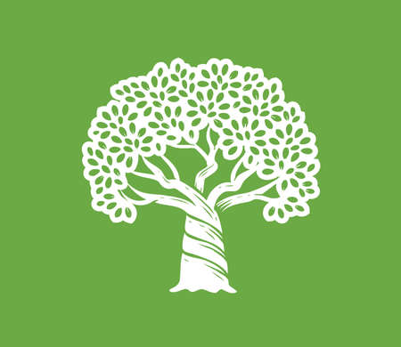 Growing big tree with leaves symbol. Nature concept vector illustration Vettoriali