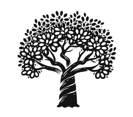 Decorative tree silhouette. Nature symbol vector illustration