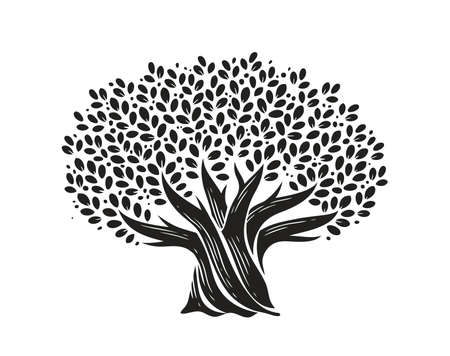 Tree with leaves. Nature concept decorative vector illustration