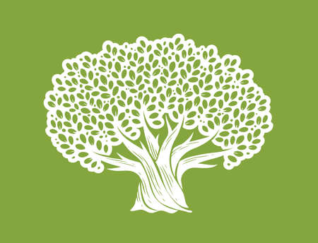 Decorative tree with leaves. Nature concept vector illustration